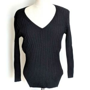 Banana Republic Ribbed Sweater Black V-Neck XL
